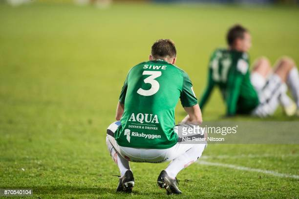 Tom Siwe of Jonkopings Sodra dejected during the Allsvenskan match between Jonkopings Sodra IF and Ostersunds FK at Stadsparksvallen on November 5...