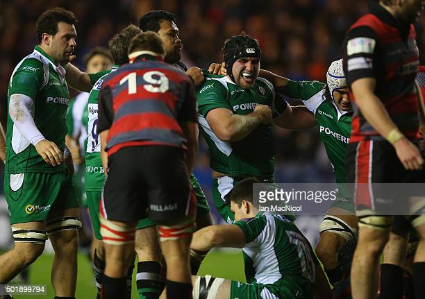 Tom Smallbone of London Irish is congratulated on scoring his try during the European Rugby Challenge Cup match between Edinburgh Rugby and London...
