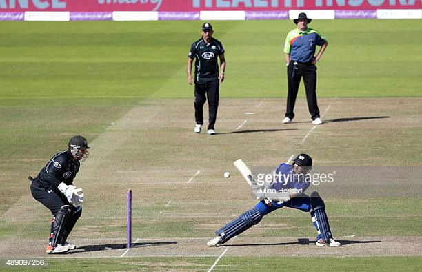 Tom Smith of Gloustershire scores runs during the Royal London OneDay Cup Final between Surrey and Gloustershire at Lord's Cricket Ground on...
