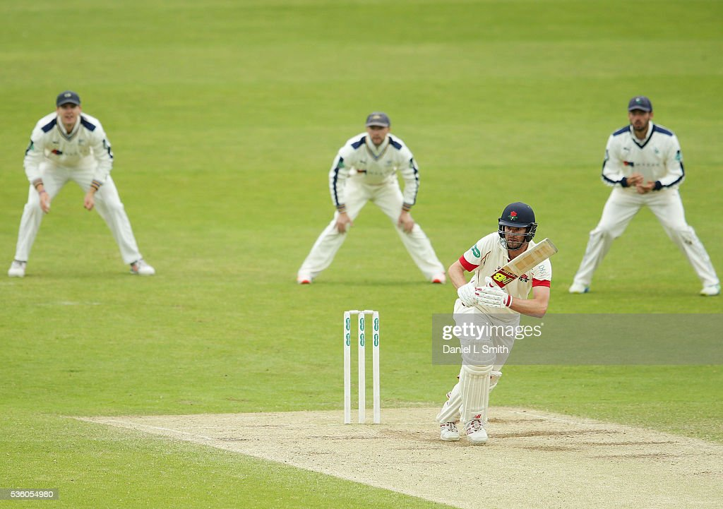 <a gi-track='captionPersonalityLinkClicked' href=/galleries/search?phrase=Tom+Smith+-+Cricket&family=editorial&specificpeople=4180561 ng-click='$event.stopPropagation()'>Tom Smith</a> of Lancashire bats during day three of the Specsavers County Championship: Division One match between Yorkshire and Lancashire at Headingley on May 31, 2016 in Leeds, England.