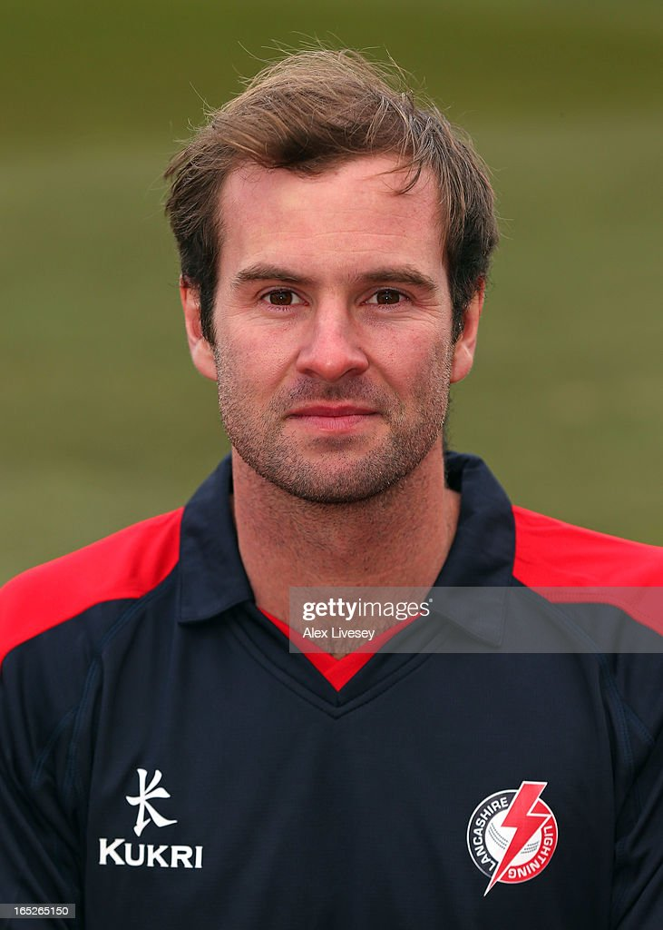 Tom Smith of Lancashire CCC wears the Yorkshire 40 during a pre-season photocall at Old Trafford on April 2, 2013 in Manchester, England.