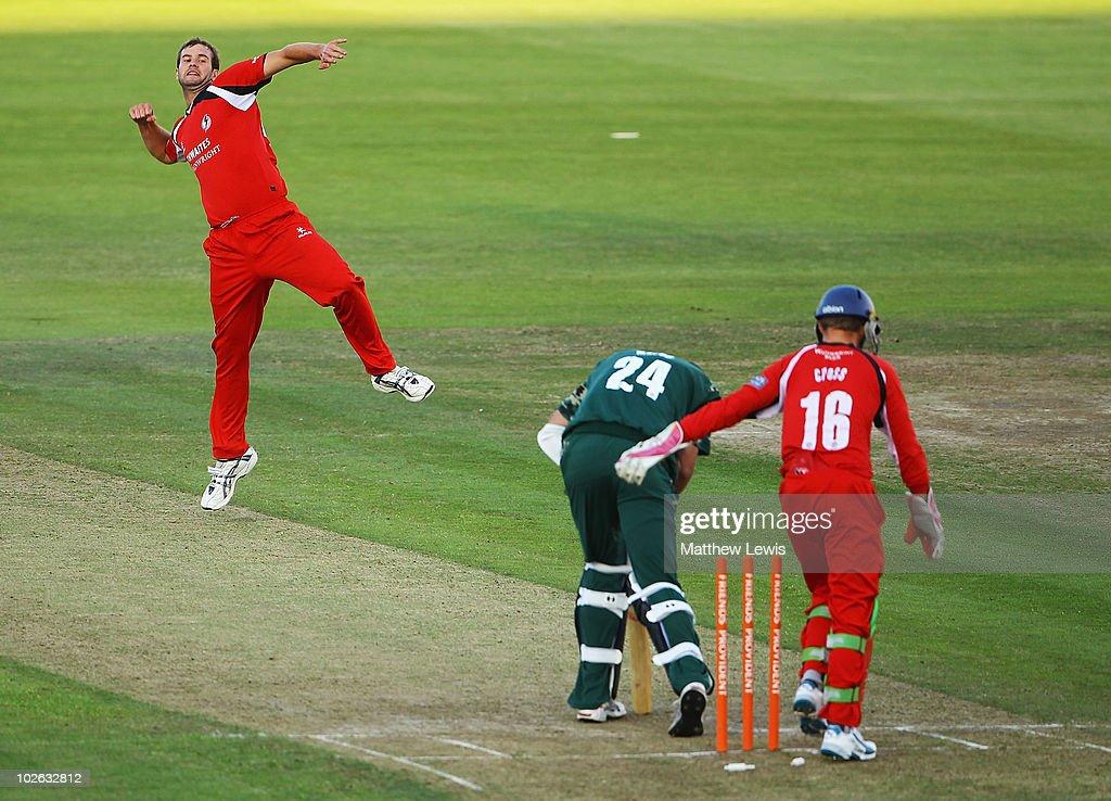 Tom Smith of Lancashire celebrates bowling Matt Mason of Worcestershire during the Friends Provident T20 match between Lancashire and Worcestershire...