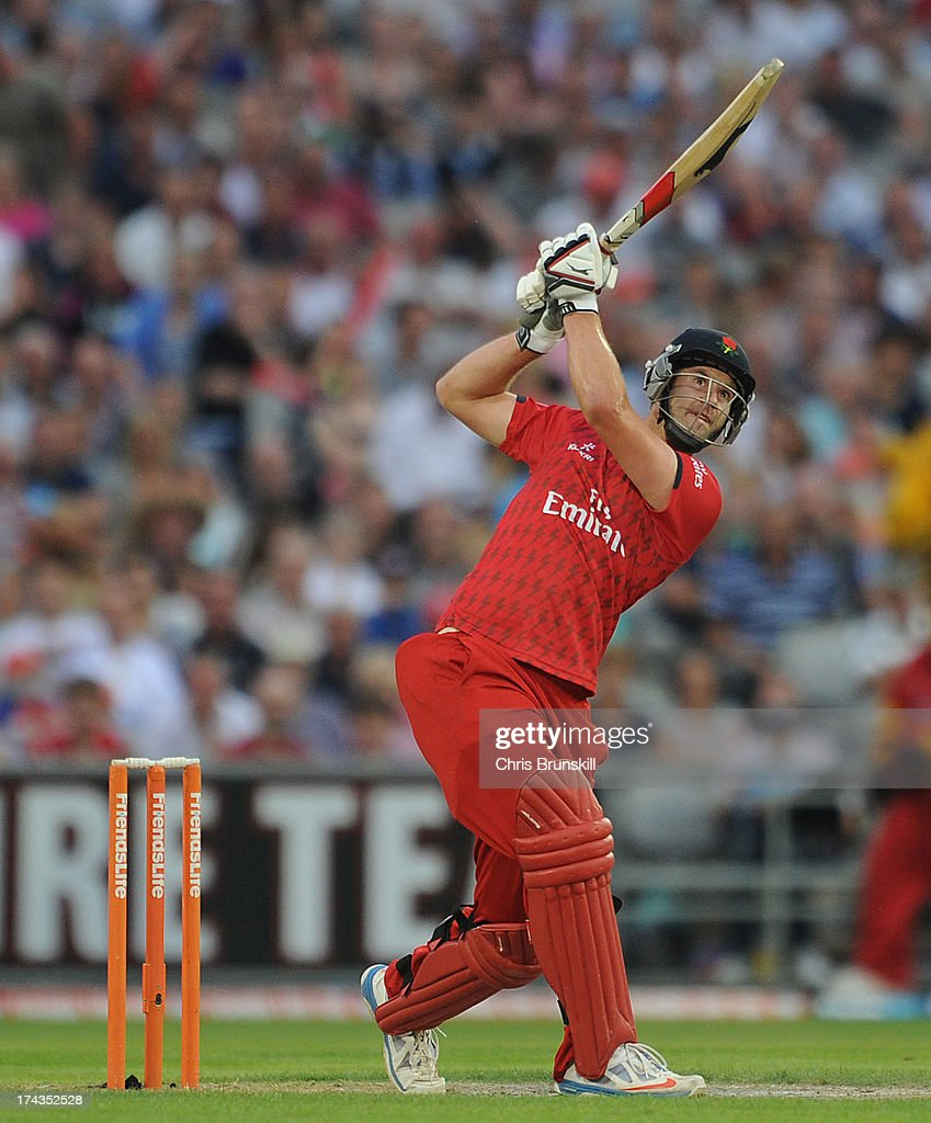 Tom Smith of Lancashire Lightning hits out to the boundary during the Friends Life T20 match between Lancashire Lightning and Yorkshire Carnegie at Old Trafford on July 24, 2013 in Manchester, England.