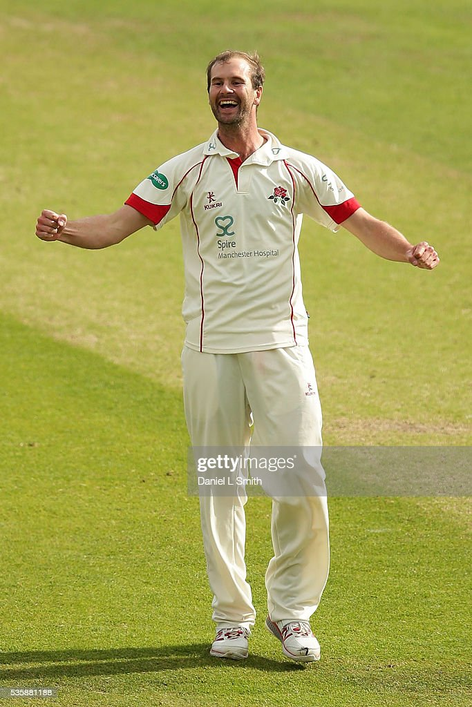 Tom Smith of Lancashire reacts after dismissing Alex Lees of Yorkshire during day two of the Specsavers County Championship Division One match...