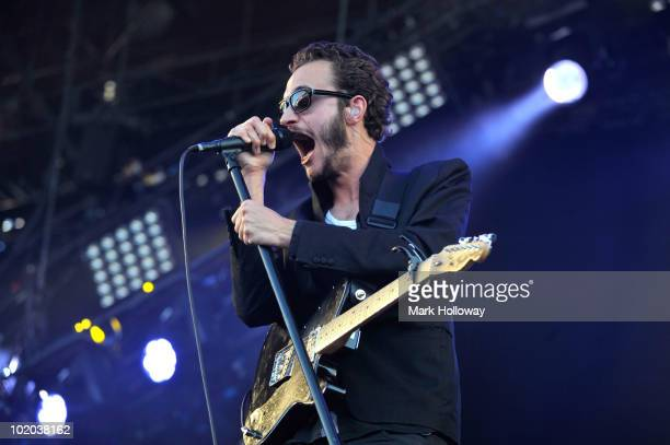 Tom Smith of the Editors performs on stage on the last day of Isle OF Wight Festival at Seaclose Park on June 13 2010 in Newport Isle of Wight