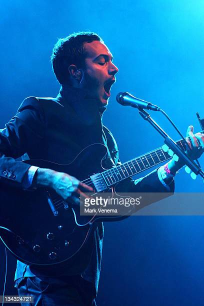 Tom Smith performs live with his band The Editors at the Lowlands Festival on August 17 2008 in Biddinghuizen The Netherlands