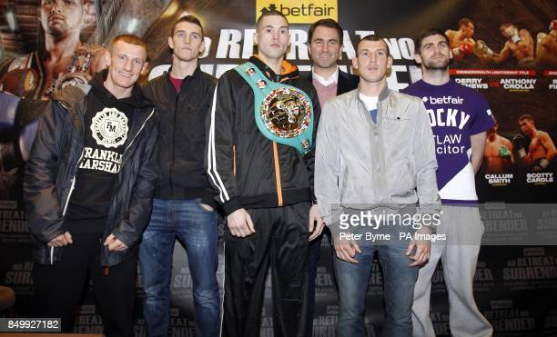 Tom Stalker Callum Smith Tony Bellew Eddie Hearn Derry Mathews and Rocky Fielding during a press conference at the Hilton Hotel Liverpool
