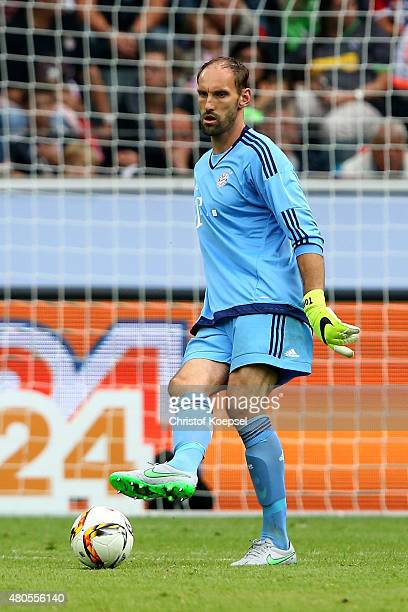 Tom Starke of Bayern runs with the ball during the Telekom Cup 2015 Semi Final match between Borussia Moenchegladbach and Hamburger SV at...