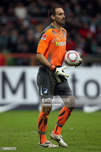 Tom Starke of Hoffenheim holds the ball during the Bundesliga match between SV Werder Bremen and 1899 Hoffenheim at Weser Stadium on January 15 2011...