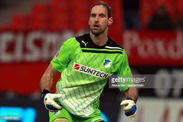 Tom Starke of Hoffenheim looks on the Bundesliga match between 1FC Nuernberg and TSG 1899 Hoffenheim at Easy Credit Stadium on December 10 2011 in...