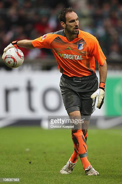 Tom Starke of Hoffenheim throws the ball during the Bundesliga match between SV Werder Bremen and 1899 Hoffenheim at Weser Stadium on January 15 2011...