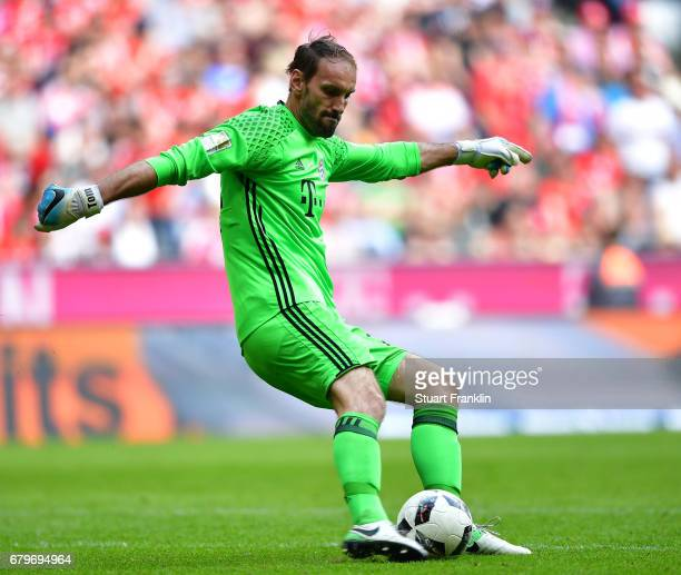Tom Starke of Muenchen in action during the Bundesliga match between Bayern Muenchen and SV Darmstadt 98 at Allianz Arena on May 6 2017 in Munich...