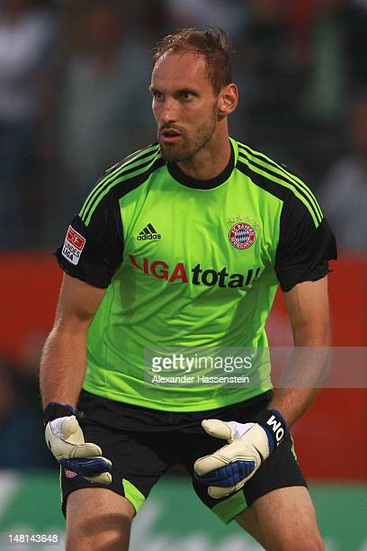 Tom Starke of Muenchen looks on during the friendly match between SpVgg Unterhaching and FC Bayern Muenchen at Sportpark Unterhaching on July 10 2012...