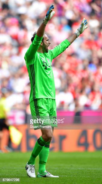 Tom Starke of Muenchen reacts after saving a penalty during the Bundesliga match between Bayern Muenchen and SV Darmstadt 98 at Allianz Arena on May...