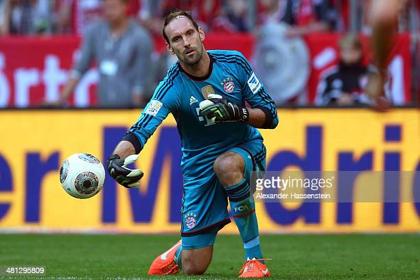 Tom Starke of Muenchen safes the ball during the Bundesliga match between FC Bayern Muenchen and 1899 Hoffenheim at Allianz Arena on March 29 2014 in...