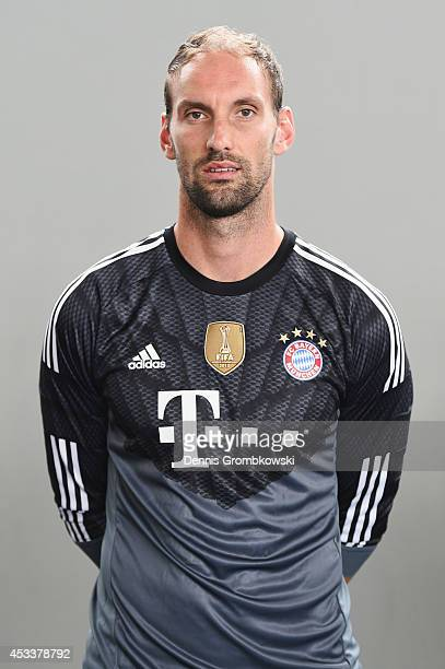 Tom Starke poses during the official FC Bayern Muenchen team presentation at Saebener Strasse on August 9 2014 in Munich Germany