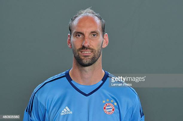 Tom Starke poses during the team presentation of FC Bayern Muenchen at Bayern's training ground Saebener Strasse on July 16 2015 in Munich Germany