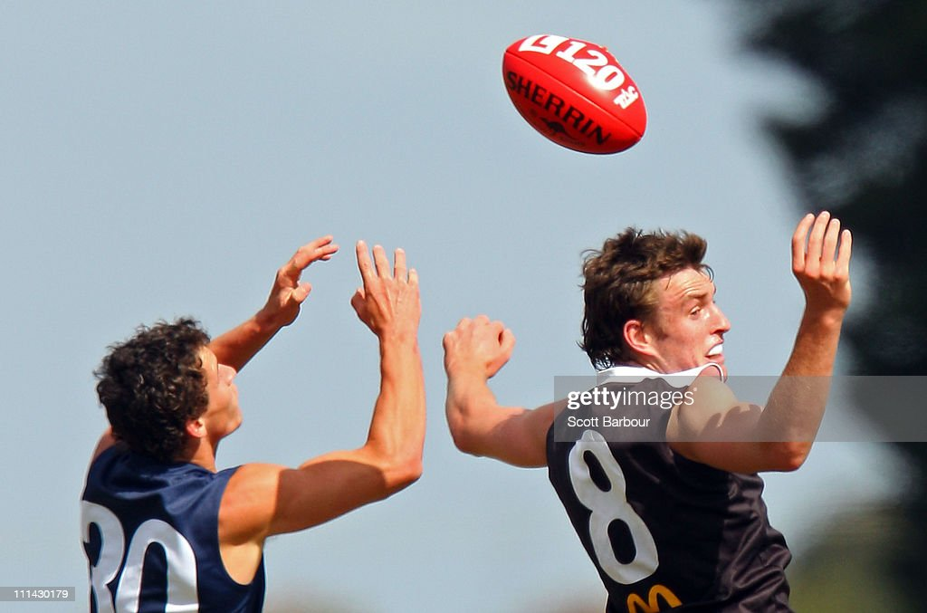 Tom Stevens of the Pioneers and Sam Dobson of the Rebels compete for the ball during the round one TAC Cup match between the North Ballarat Rebels and the Bendigo Pioneers at Eureka Stadium on April 2, 2011 in Melbourne, Australia.