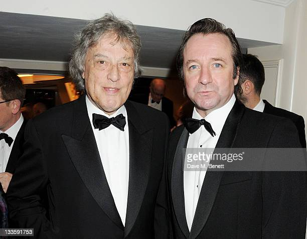 Tom Stoppard and Neil Pearson attend a drinks reception during the 57th Evening Standard Theatre Awards at The Savoy Hotel on November 20 2011 in...