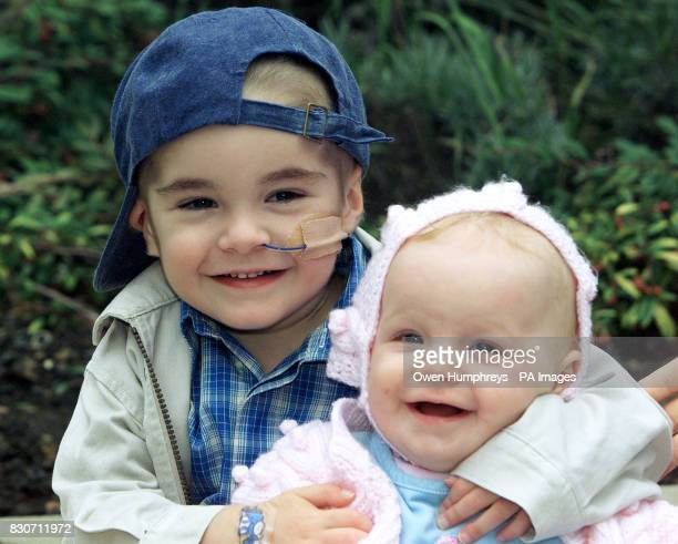 Tom Stretch three hugs his ten monthold sister Hannah who helped cure him of a potentially fatal disease in Newcastle upon Tyne * Tom from Mancot...