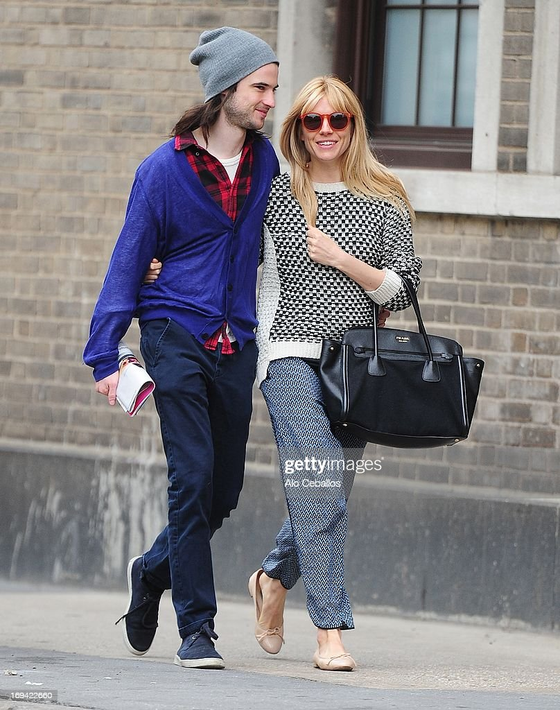 Tom Sturridge and Sienna Miller are seen in the West Village on May 24, 2013 in New York City.