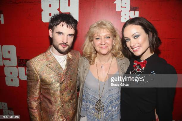Tom Sturridge Producer Sonia Friedman and Olivia Wilde pose at the opening night party for '1984' on Broadway at The Lighthouse at Chelsea Piers on...