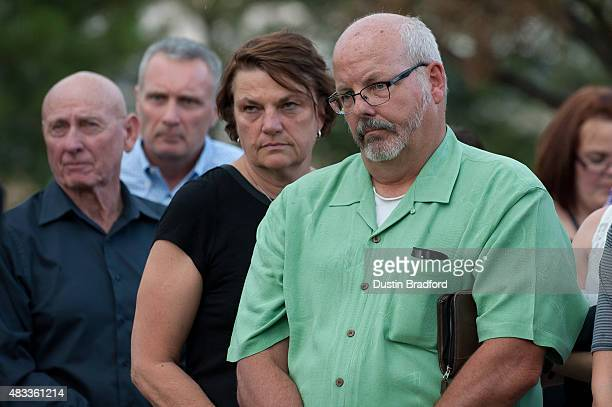 Tom Sullivan the father of the Aurora Colorado theater shooting victim Alex Sullivan looks on during a press conference at Arapahoe County Justice...
