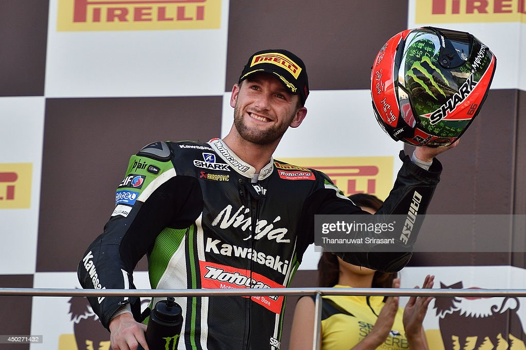 <a gi-track='captionPersonalityLinkClicked' href=/galleries/search?phrase=Tom+Sykes&family=editorial&specificpeople=3070262 ng-click='$event.stopPropagation()'>Tom Sykes</a> celebrates during the second race of round six FIM Superbike World Championship at Sepang Circuit on June 8, 2014 in Kuala Lumpur, Malaysia.