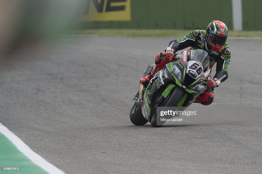 <a gi-track='captionPersonalityLinkClicked' href=/galleries/search?phrase=Tom+Sykes&family=editorial&specificpeople=3070262 ng-click='$event.stopPropagation()'>Tom Sykes</a> of Great Britain and Kawasaki Racing Team heads down a straight during the World Superbikes - Practice at Enzo & Dino Ferrari Circuit on April 29, 2016 in Imola, Italy.
