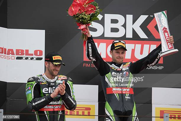 Tom Sykes of Great Britain and Kawasaki Racing Team Jonathan Rea of Great Britain and KAWASAKI RACING TEAM celebrate on the podium at the end of the...