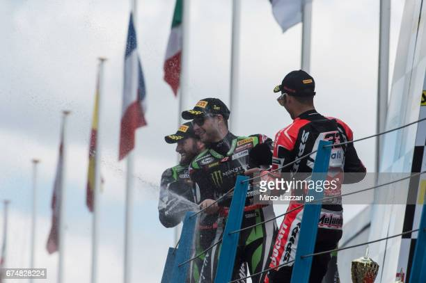 Tom Sykes of Great Britain and Kawasaki Racing Team Jonathan Rea of Great Britain and KAWASAKI RACING TEAM and Marco Melandri of Italy and ARUBAIT...