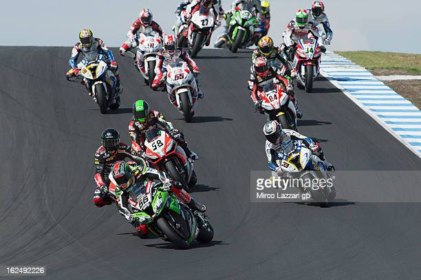 Tom Sykes of Great Britain and Kawasaki Racing Team leads the field during race 2 of the first round of the 2013 Superbike FIM World Championship at...