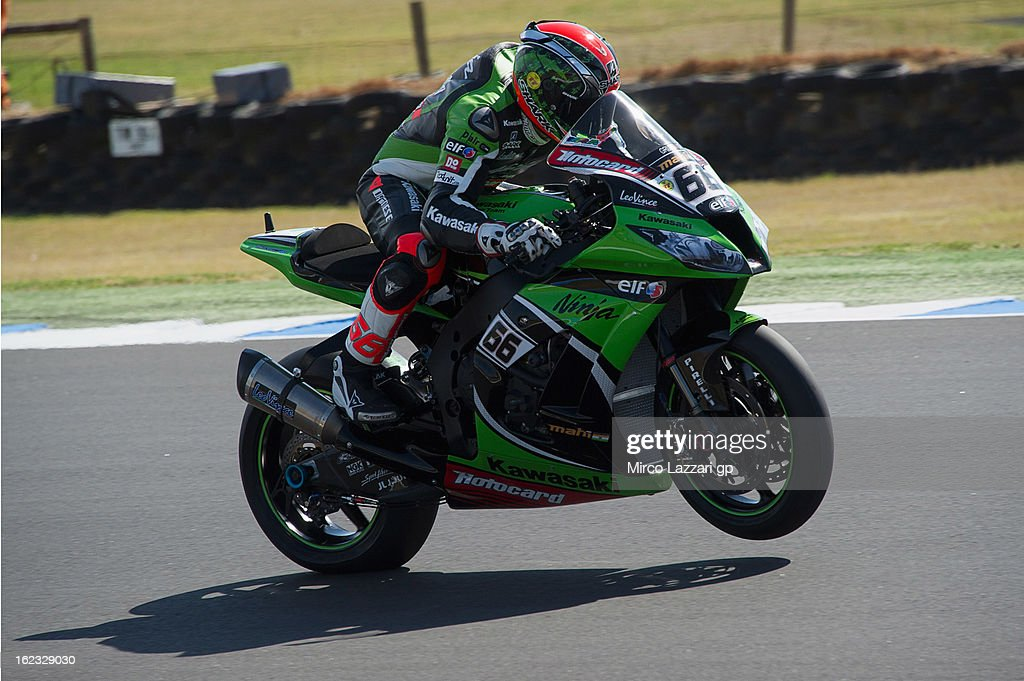 Tom Sykes of Great Britain and Kawasaki Racing Team lifts the front wheel during qualifying practice ahead of the World Superbikes at Phillip Island Grand Prix Circuit on February 22, 2013 in Phillip Island, Australia.