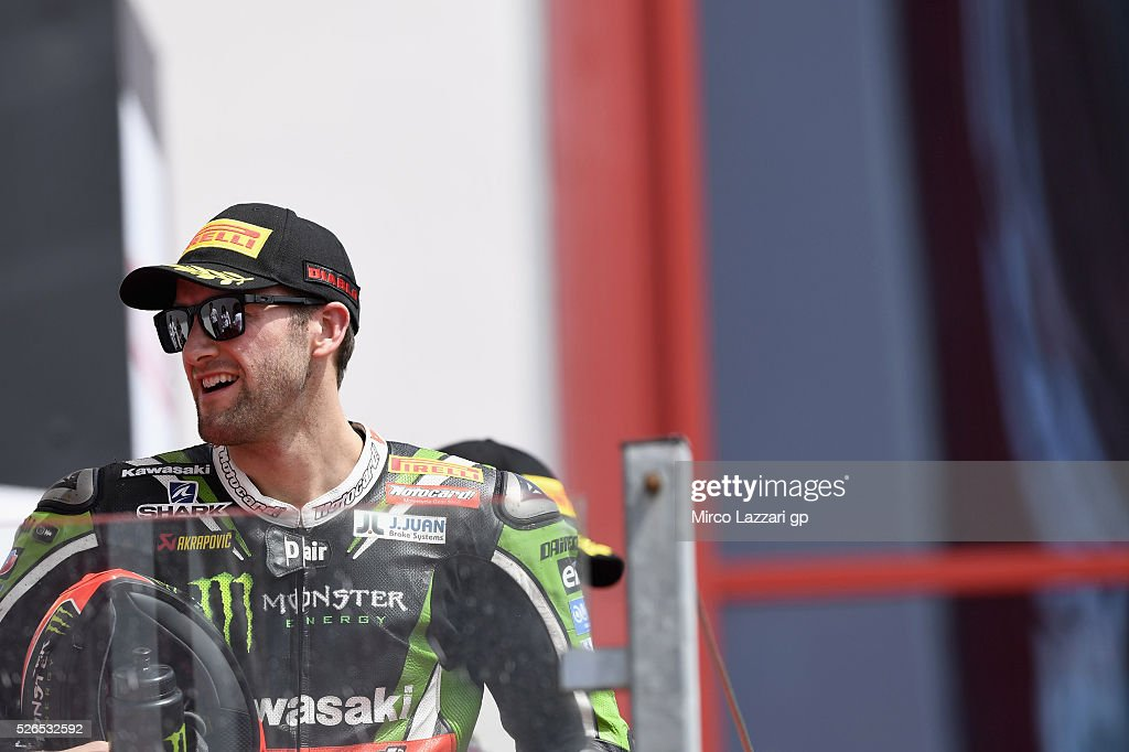 Tom Sykes of Great Britain and Kawasaki Racing TeamI celebrates the third place on the podium at the end of the Superbike Race 1 during the World Superbikes - Qualifying at Enzo & Dino Ferrari Circuit on April 30, 2016 in Imola, Italy.