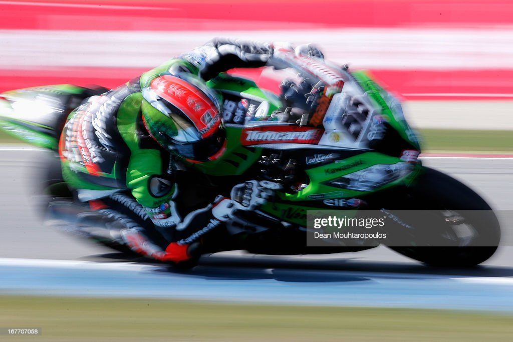 Tom Sykes (#66) of Great Britain on the Kawasaki ZX-10R for Kawasaki Racing Team leads and wins the World Superbikes Race 1 at TT Circuit Assen on April 28, 2013 in Assen, Netherlands.