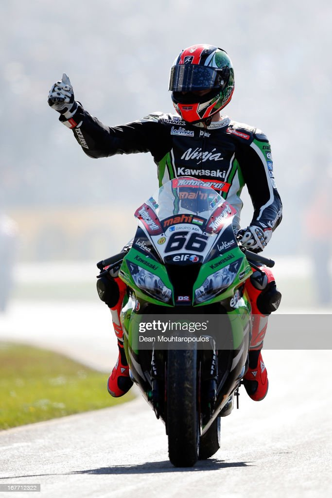 Tom Sykes (#66) of Great Britain on the Kawasaki ZX-10R for Kawasaki Racing Team celebrates his podium finish in the World Superbikes Race 2 at TT Circuit Assen on April 28, 2013 in Assen, Netherlands.