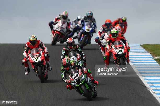 Tom Sykes of Great Britain rides the Kawasaki Racing Team Kawasaki during race one of round one of the 2016 World Superbike Championship at Phillip...