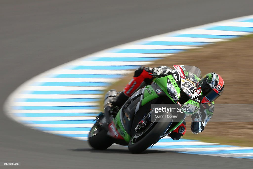 Tom Sykes of Great Britain riding the #66 Kawasaki Racing Team during Qualifying ahead of the World Superbikes at Phillip Island Grand Prix Circuit on February 22, 2013 in Phillip Island, Australia.