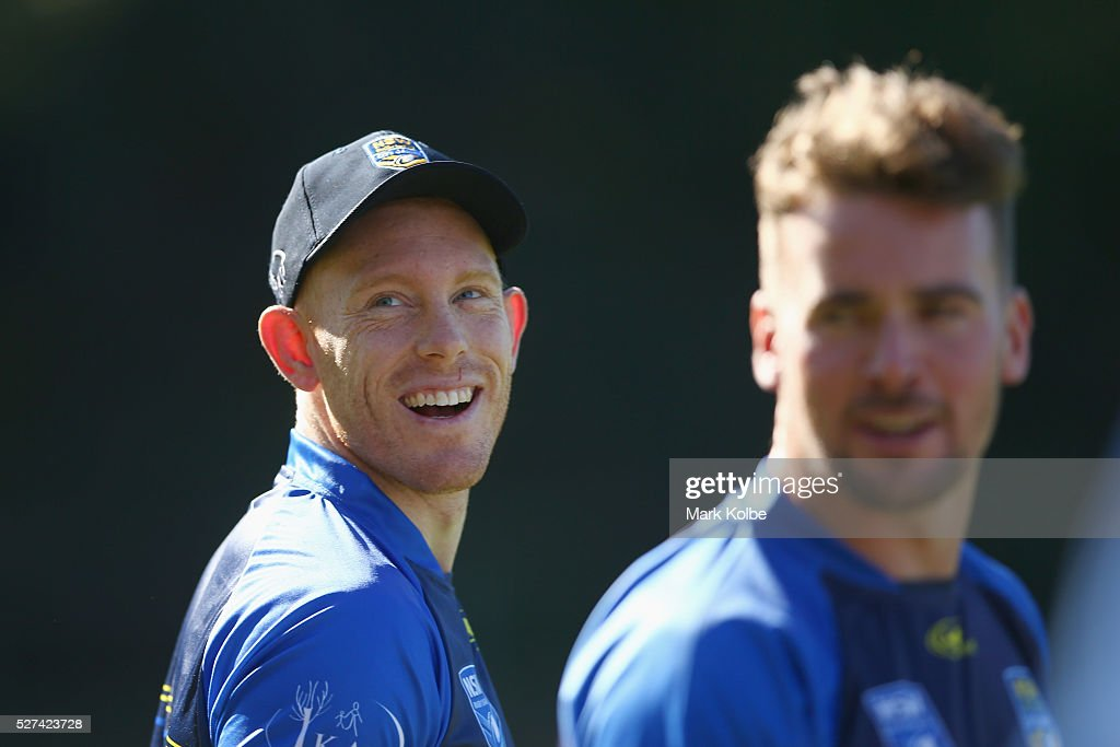 Tom Symonds shares a joke with a team mate during a City NSW Origin training session at Leichhardt Oval on May 3, 2016 in Sydney, Australia.