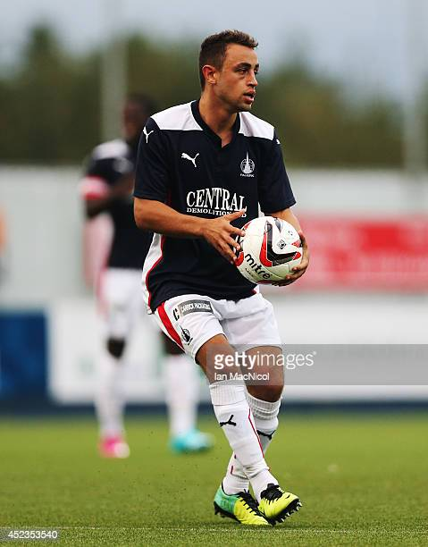 Tom Taiwo of Falkirk prepares to take a free kick during the Pre Season Friendly match between Falkirk v Rotherham United at The Falkirk Stadium on...