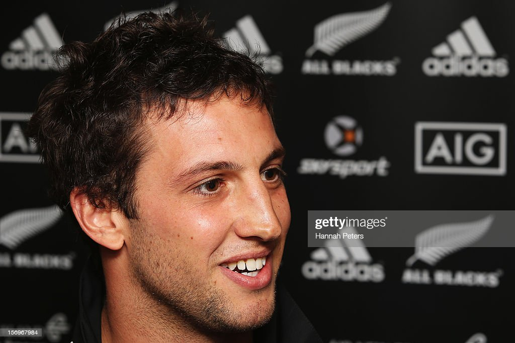 Tom Taylor of the All Blacks answers questions from the media during a press conference at the Royal Gardens Hotel on November 26, 2012 in London, England.