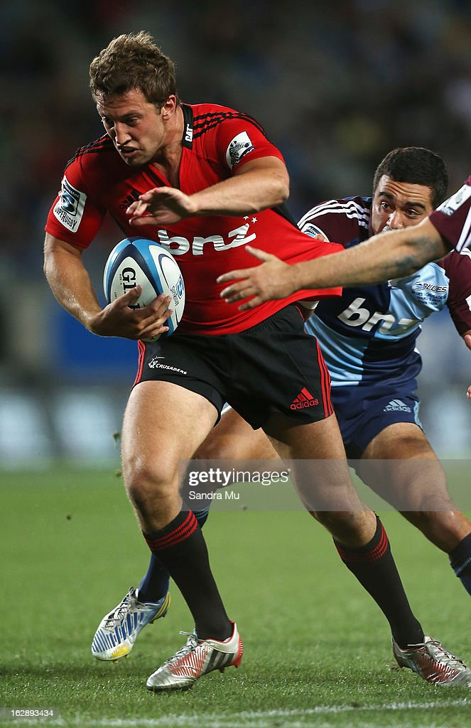 Tom Taylor of the Crusaders in action during the round 3 Super Rugby match between the Blues and the Crusaders at Eden Park on March 1, 2013 in Auckland, New Zealand.