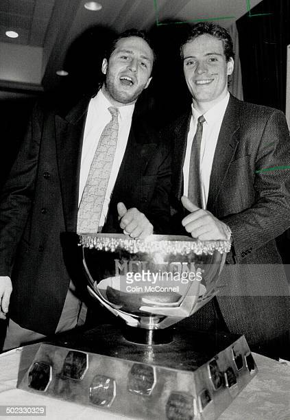 Tom Terrific Defenceman Al Iafrate left was on hand to congratulate Tom Fergus on being named the Leafs' top player for the month of November