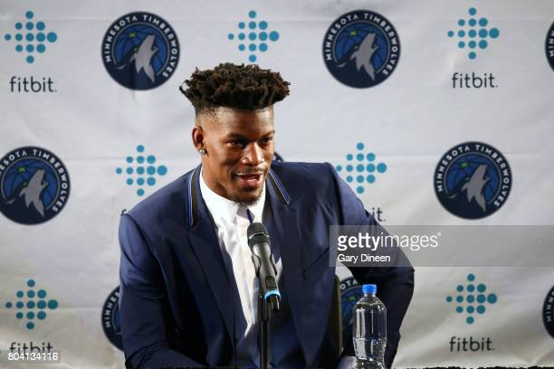 Tom Thibobeau introduces Jimmy Butler of the Minnesota Timberwolves to the public during a press conference at the Mall of America on June 29 2017 in...