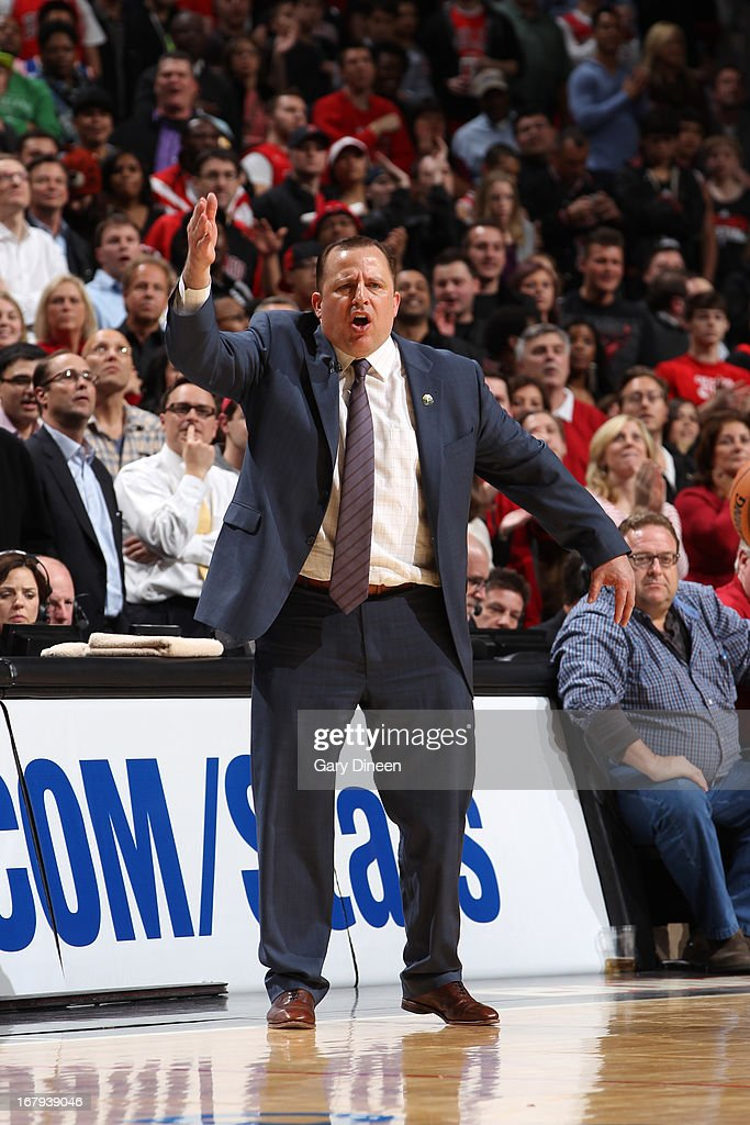 <a gi-track='captionPersonalityLinkClicked' href=/galleries/search?phrase=Tom+Thibodeau&family=editorial&specificpeople=2162261 ng-click='$event.stopPropagation()'>Tom Thibodeau</a>, Head Coach of the Chicago Bulls, reacts during the game against the New York Knicks on April 11, 2013 at the United Center in Chicago, Illinois.