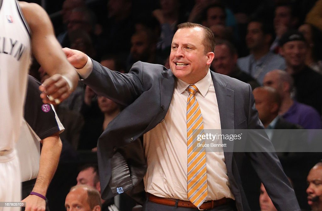 Tom Thibodeau of the Chicago Bulls gives his players instructions during the game against the Brooklyn Nets during Game Five of the Eastern Conference Quarterfinals of the 2013 NBA Playoffs at the Barclays Center on April 29, 2013 in New York City.