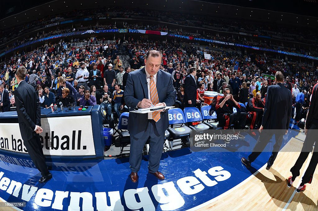 <a gi-track='captionPersonalityLinkClicked' href=/galleries/search?phrase=Tom+Thibodeau&family=editorial&specificpeople=2162261 ng-click='$event.stopPropagation()'>Tom Thibodeau</a> of the Chicago Bulls prepares for the game against the Denver Nuggets on February 7, 2013 at the Pepsi Center in Denver, Colorado.