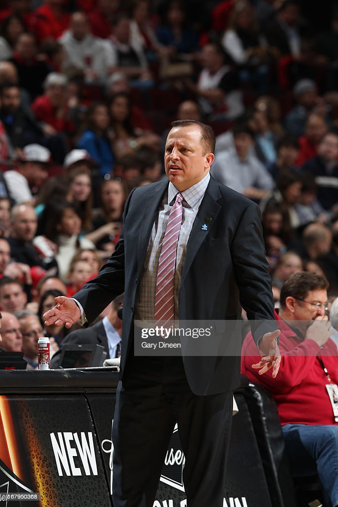 <a gi-track='captionPersonalityLinkClicked' href=/galleries/search?phrase=Tom+Thibodeau&family=editorial&specificpeople=2162261 ng-click='$event.stopPropagation()'>Tom Thibodeau</a> of the Chicago Bulls reacts to a play against the Orlando Magic on April 05, 2013 at the United Center in Chicago, Illinois.