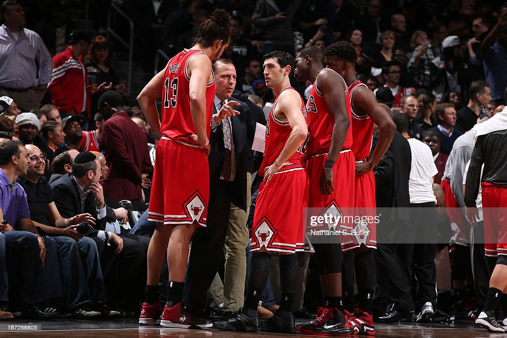 <a gi-track='captionPersonalityLinkClicked' href=/galleries/search?phrase=Tom+Thibodeau&family=editorial&specificpeople=2162261 ng-click='$event.stopPropagation()'>Tom Thibodeau</a> of the Chicago Bulls speaks with his team during a time out against the Brooklyn Nets in Game Two of the Eastern Conference Quarterfinals during the 2013 NBA Playoffs on April 22 at the Barclays Center in the Brooklyn borough of New York City.