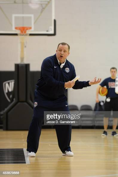 Tom Thibodeau of the USA Basketball Men's National Team instructs during practice at the PNY Center on August 19 2014 in East Rutherford New Jersey...